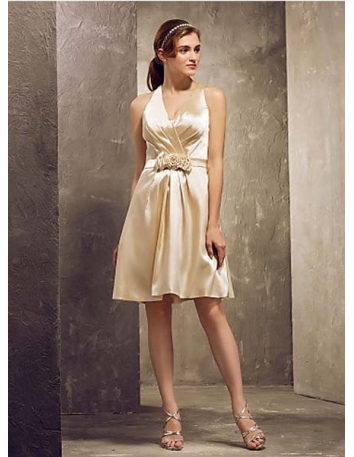 LAVERNE - Bridesmaid Cheap Sheath/Column Short/Mini Stretch satin Halter Wedding party dresses