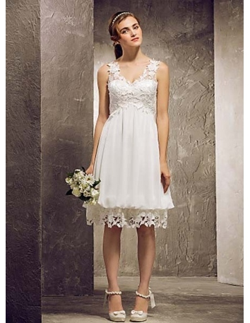 MABEL - Bridesmaid Cheap A-line Knee length Chiffon Lace V-neck Wedding party dresses