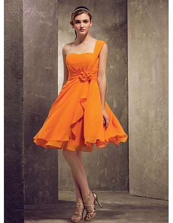 NOELLE - Bridesmaid Cheap A-line Knee length Chiffon One shoulder Wedding party dresses