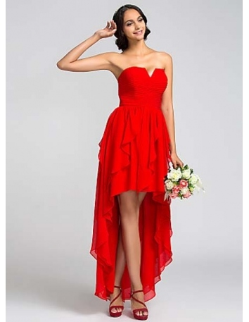 SOLEIL - Bridesmaid Cheap A-line Asymmetrical Chiffon Strapless Wedding party dresses
