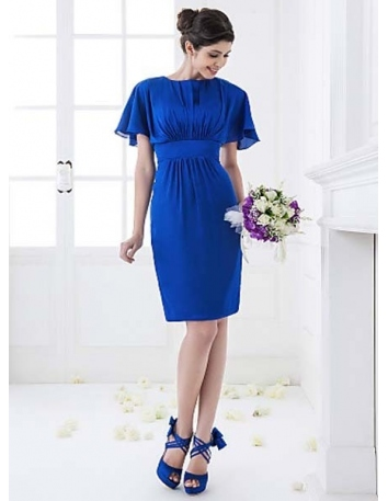 REMY - Bridesmaid Cheap Sheath/Column Knee length Chiffon High round/Slash neck Wedding party dresses