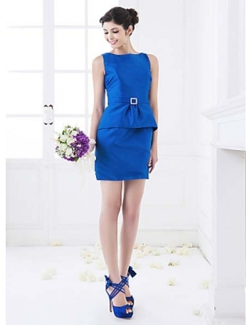 LSABELLA - Bridesmaid Cheap Sheath/Column Short/Mini Taffeta High round/Slash neck Wedding party dresses