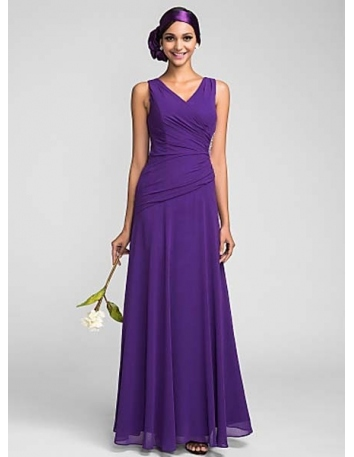 MELISSA - Bridesmaid Cheap Sheath/Column Floor length Chiffon V-neck Wedding party dresses