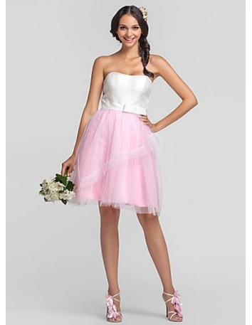 ODELIA - Bridesmaid Cheap A-line Knee length Taffeta Tulle Sweetheart Wedding party dresses