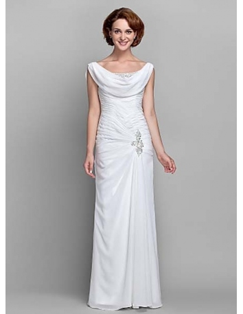 BETTY - Mother of the bride Cheap Sheath/Column Floor length Chiffon Low round/Scooped neck Wedding party dresses