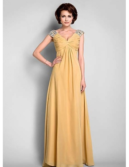 LINDA - Mother of the bride Cheap A-line Floor length Chiffon V-neck Wedding party dresses