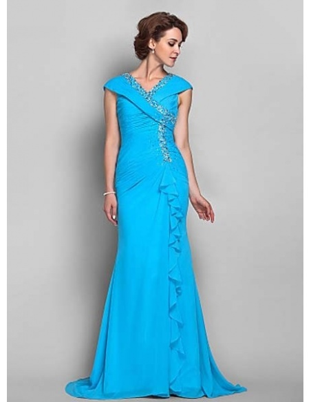 HELEN - Mother of the bride Cheap Trumpet/Mermaid Court train Chiffon V-neck Wedding party dresses