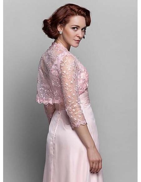 Three quarter sleeve Chiffon Lace Bridal jacket Wedding wrap