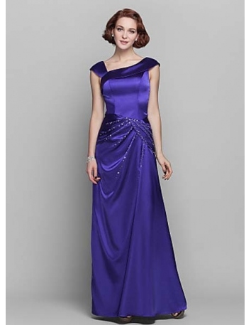 TRACY - Mother of the bride Cheap Sheath/Column Floor length Stretch Satin Asymmetrical Wedding party dresses