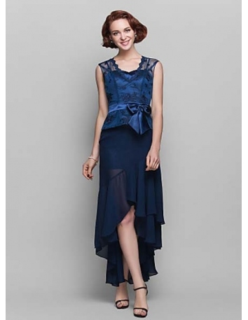 ALICE - Mother of the bride Cheap Sheath/Column Asymmetrical Chiffon Lace Sweetheart Wedding party dresses