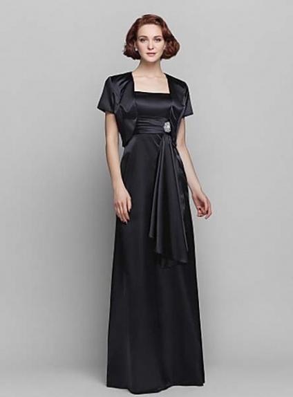CHRISTINA - Mother of the bride Cheap Sheath/Column Floor length Stretch satin Square neck Wedding party dresses