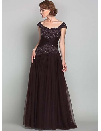 CONNIE - Mother of the bride Cheap A-line Floor length Tulle Off the shoulder Wedding party dresses