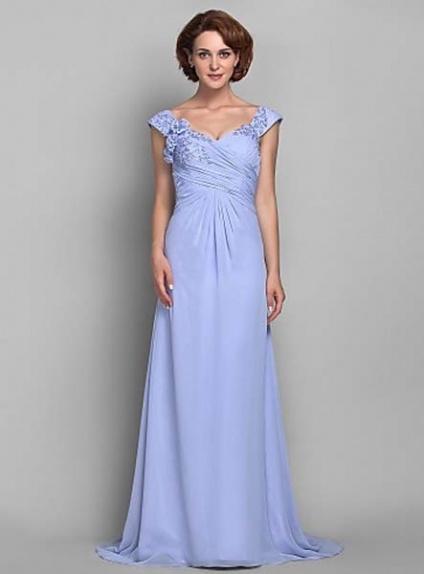 JANET - Mother of the bride Cheap Sheath/Column Court train Chiffon V-neck Wedding party dresses