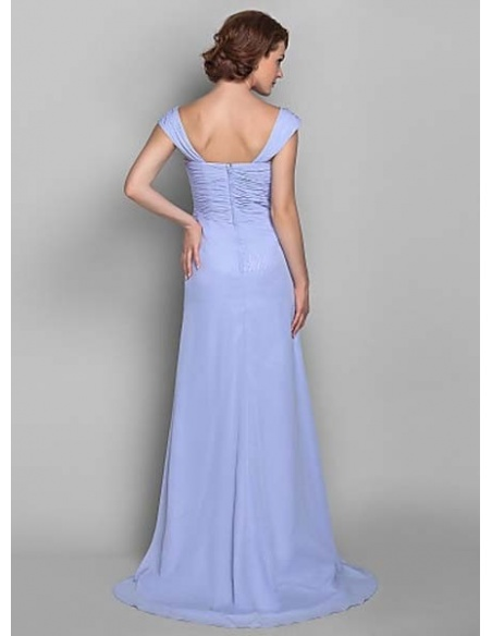 JANET - Mother of the bride Cheap Sheath/Column Court train Chiffon V-neck Wedding party dresses