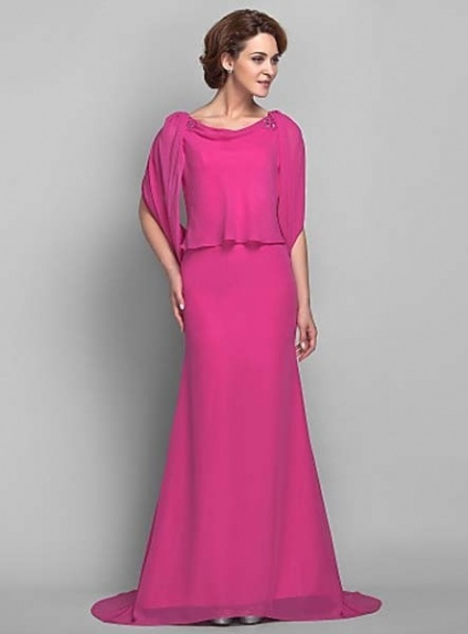 JEAN - Mother of the bride Cheap Trumpet/Mermaid Court train Chiffon Low round/Scooped neck Wedding party dresses