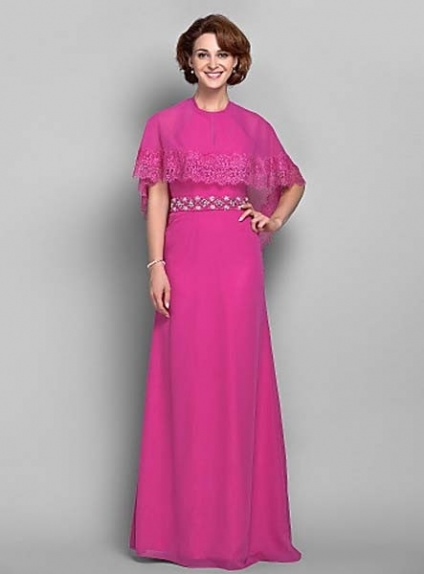 LAURA - Mother of the bride Cheap Sheath/Column Floor length Chiffon High round/Slash neck Wedding party dresses