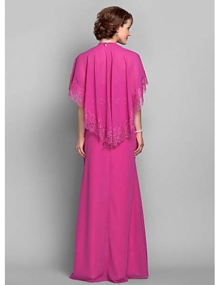 LAURA - Mother of the bride Cheap Sheath/Column Floor length Chiffon High round/Slash neck Wedding party dresses