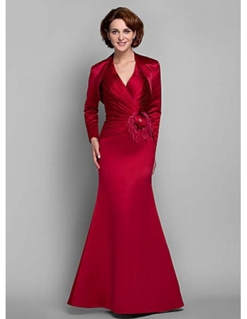 MANDY - Mother of the bride Cheap Trumpet/Mermaid Floor length Satin V-neck Wedding party dresses