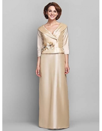NATASHA - Mother of the bride Cheap Sheath/Column Floor length Taffeta V-neck Wedding party dresses