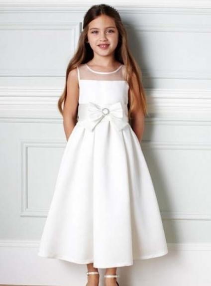 ELISABETH - Flower girl Cheap A-line Ankle length Satin Tulle High round/Slash neck Wedding party dresses