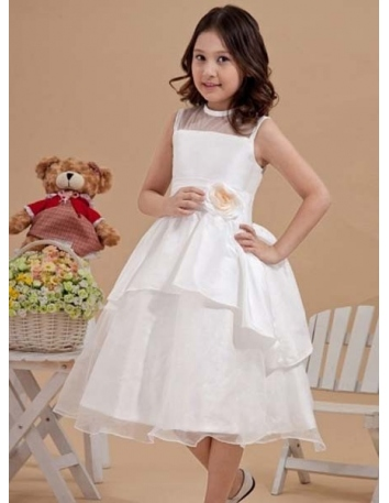 VIOLETA - Flower girl Cheap A-line Tea length Taffeta Tulle High round/Slash neck Wedding party dresses