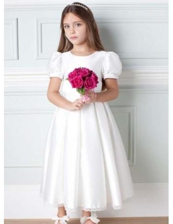 VALERIA - Flower girl Cheap A-line Ankle length Satin High round/Slash neck Wedding party dresses