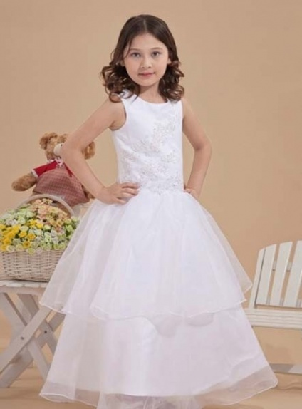 ELLIE - Flower girl Cheap A-line Floor length Satin Organza Square neck Wedding party dresses