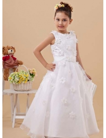 DARIA - Flower girl Cheap A-line Ankle length Organza High round/Slash neck Wedding party dresses