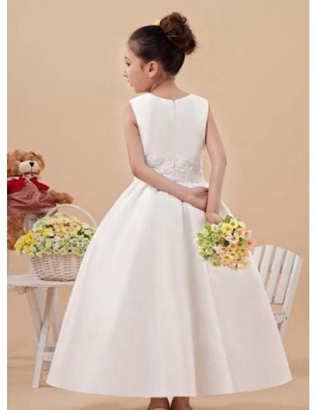 POLINA - Flower girl Cheap A-line Ankle length Satin High round/Slash neck Wedding party dresses