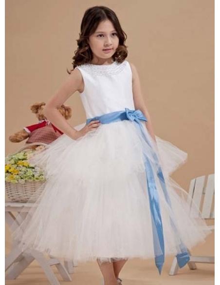 NATALIA - Flower girl Cheap A-line Tea length Tulle High round/Slash neck Wedding party dresses
