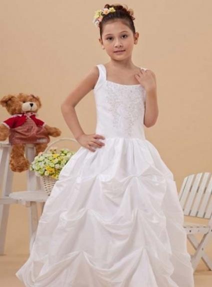 MILICA - Flower girl Cheap A-line Floor length Taffeta Square neck Wedding party dresses