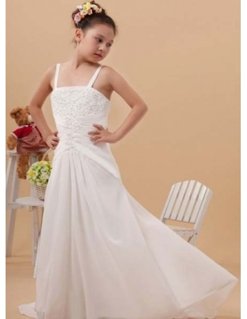 ANDELA - Flower girl Cheap A-line Chapel train Chiffon Square neck Wedding party dresses