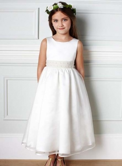 CARLA - Flower girl Cheap A-line Ankle length Organza Low round/Scooped neck Wedding party dresses