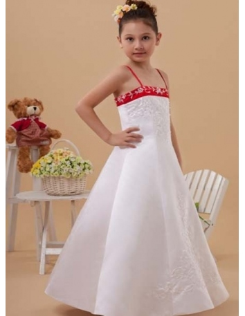 CLAUDIA - Flower girl A-line Floor length Satin Square neck Wedding party dresses