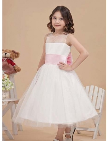 LAIA - Flower girl Cheap A-line Ankle length Satin Tulle Low round/Scooped neck Wedding party dresses