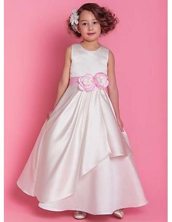 ASHLEY - Flower girl Cheap A-line Ankle length Satin High round/Slash neck Wedding party dresses
