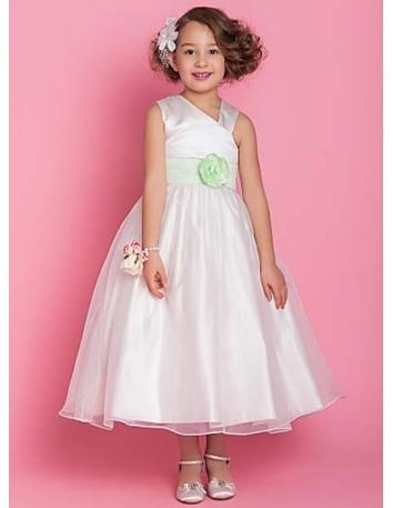 JENNIFER - Flower girl Cheap A-line Ankle length Satin Organza Asymmetrical Wedding party dresses