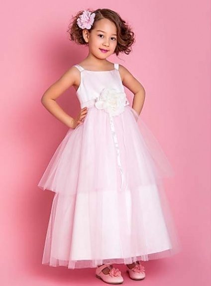 MADISON - Flower girl Cheap A-line Ankle length Satin Tulle Square neck Wedding party dresses