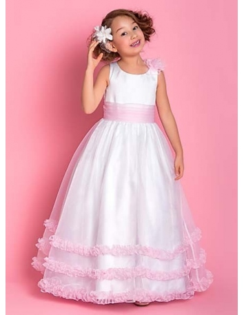 ISABELLA - Flower girl Cheap A-line Floor length Satin Organza Low round/Scooped neck Wedding party dresses