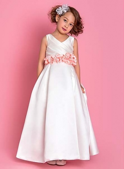 ABIGAIL - Flower girl Cheap A-line Floor length Satin V-neck Wedding party dresses