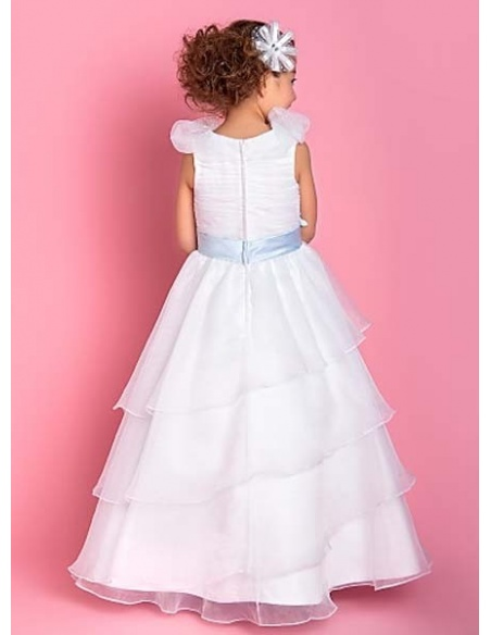 HANNAH - Flower girl Cheap A-line Floor length Organza High round/Slash neck Wedding party dresses