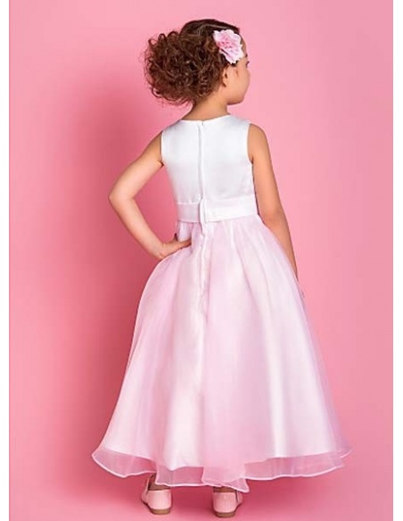 ELIZABETH - Flower girl Cheap A-line Ankle length Satin Organza High round/Slash neck Wedding party dresses