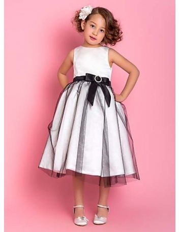MIA - Flower girl Cheap A-line Ankle length Satin Tulle High round/Slash neck Wedding party dresses