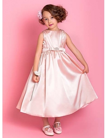 SARAH - Flower girl Cheap A-line Ankle length Stretch satin High round/Slash neck Wedding party dresses