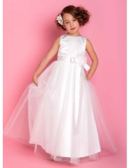 CHLOE - Flower girl Cheap A-line Ankle length Satin Tulle High round/Slash neck Wedding party dresses