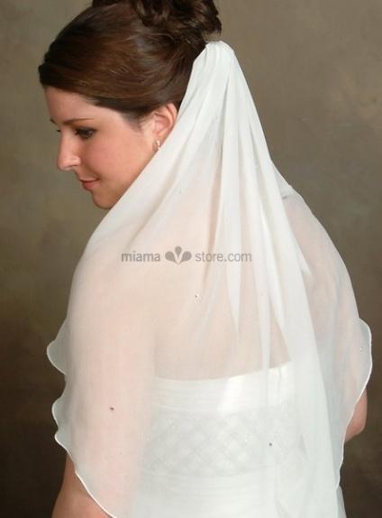 One layer Elbow Chiffon Wedding veil
