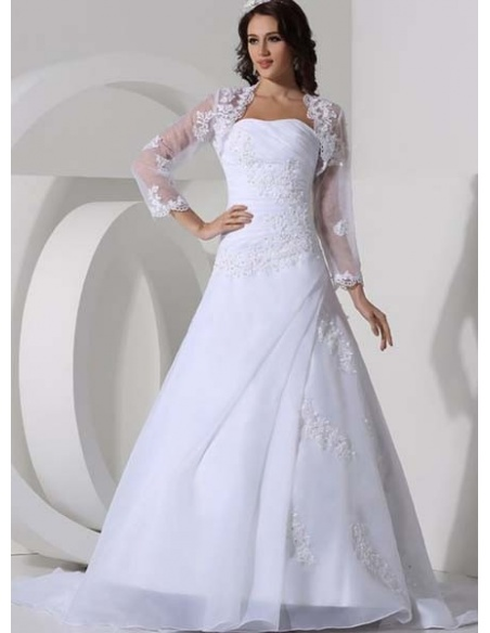 ELLA - A-line Strapless Chapel train Organza Strapless Wedding dress