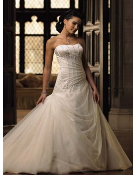 ELISE - A-line Strapless Chapel train Tulle Strapless Wedding dress