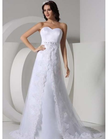SARA - A-line Empire waist Chapel train Tulle Sweetheart Wedding dress