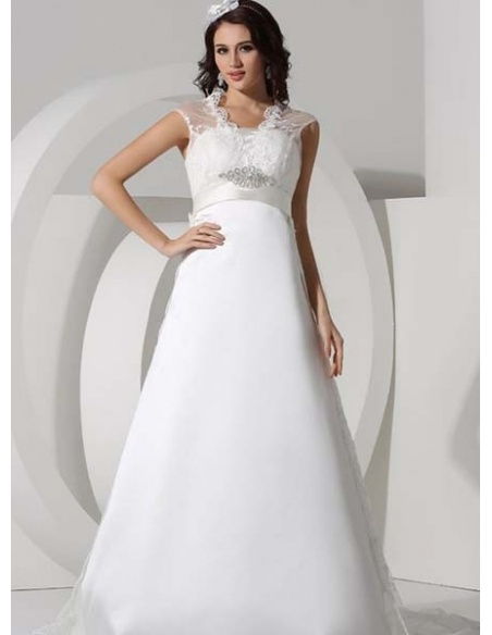 LEONIE - A-line Empire waist Chapel train Tulle Satin Strapless Wedding dress